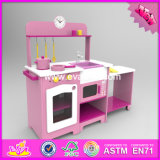2016 Wholesale Wooden Toy Kitchen for Girls, New Design Home Play Wooden Toy Kitchen for Girls W10c251