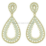 Fashion Style Jewelry Plated Brass Eardrop CZ Earrings (KE3114)