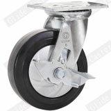 Heavy Duty Nylon Core Elastic Rubber Caster with Side Brake (G4403D)