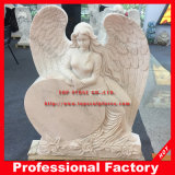 Carved Angel Monument Marble Headstone with Heart Memorial