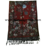 2017 Ladies Red Jacquard Flower Scarf