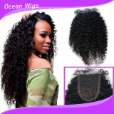 No Tangle No Shedding 8A Afro Curl Brazilian Virgin Human Hair Silk Base Closure