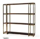 Modern Simple Solid Wood Shelf with Stainless Steel (BS005)