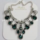 Lady Fashion Jewelry Green Waterdrop Glass Crystal Pendant Necklace (JE0211-green)