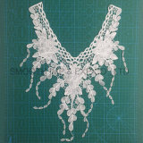 White Cotton Embroidery Venise Lace Collar Fringe Fabric with Tassel