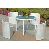 Round PE Rattan Dining Table and Chair Set