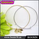 Gold Wire Bracelet / Cuff Bangle with Stamped Charm / Adjustable Bracelet