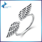 100% 925 Sterling Silver Wings Feather Finger Open Ring