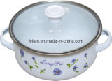 Enamel Casserole with Glass Lid, Colorfull Decor