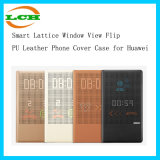 Smart Lattice Window View Flip PU Leather Phone Cover Case for Huawei