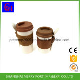 Custom Packing Plant Fiber Tea Cups with Silicone Lid and Silicone Sleeves