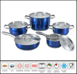 10PCS Stainless Steel Color Cooking Pot Set