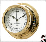 Nautical Military Time Clock 24 Hour Brass Case Dial 150mm