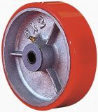 Swivel PU on Cast Iron Caster (Red)