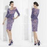 Crew Sheath Lace Flower Knee-Length Mother′s Dress Evening Dresses Z7019