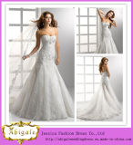 Elegant White Mermaid Strapless Open Back Floor Length Chapel Train Lace Wedding Dress 2014 (MN1001)