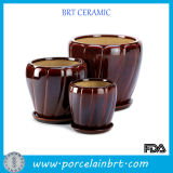 Decorative Glazed Ceramic Flower Pot with Saucer