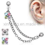 Stainless Steel Chain Linked Flower with Gemmed Double Tragus Barbell Body Jewelry (6311)