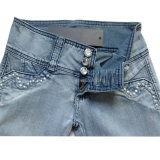 Fashion Lady's Jeans. Women Jeans Dark Blue Denim Jeans