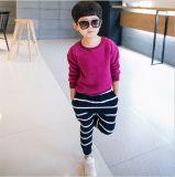 Ks43 Hotsale Fashion Autumn Boy Suits High Quality Children Clothes Fleece Casual Suits T-Shirt+Striped Pants Two-Piece for Wholesale