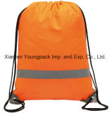 Promotional Custom Orange 210d Polyester Waterproof Reflective Drawstring Bag