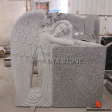 Grey Granite Kneeling Angel Cemetery Headstone