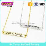 Inspiring Words Custom Metal Logo Charm Gold Jewelry Bar Neckalce with Chain#B109