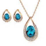 Sapphire Crystal Alloy Magnetic Necklace African Fashion Jewelry Set