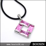 Pink Crystal European Style Necklace in Black Leather Chain #19664
