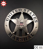 Custom Siliver Plating Metal Security Badge with Stamping