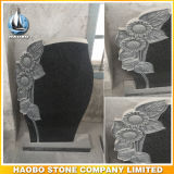 Black Granite Headstone with Hand Carved Sunflower