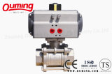 3 PC Stainless Steel Thread Ball Valve with Pneumatic Actuator (OEM)