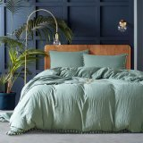 Fringed Wahsed Microfiber Comforter Cover Bed Linen