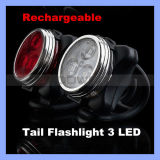 Rechargeable Red White 3 LED Rear Tail Bike Light