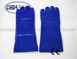 Blue Cow Split Leather Heat Resistant Welding Work Gloves
