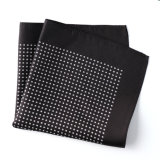 Fashionable Black Silk Polyester Dots Printed Pocket Square Hanky Handkerchief