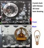 3D Inner Laser Chinese Flower Crystal Iceberg Clock Gifts