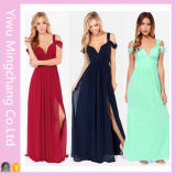 Customized Trendy Plus Size Women Navy off Shoulder Maxi Dress