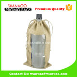 Reusable Simple Wine Bag Drawstring Pouch with PVC Window