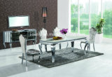 Classic Marble Top Stainless Steel Base Extendable Dining Table