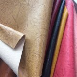 Hot Selling PVC Artificial Leather with Woven Backing Scraping Two Tone Effect