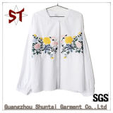 Custom Fashion Ladies Pure Color Collarless Embroidery Shirt