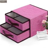 Foldable Storage, Linen & Cotton Fabric Bins Baskets Organizers with Lid for Shelves & Desks