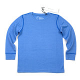 Light Blue Merino Wool Children′s Thermal Underwear Set for Winter