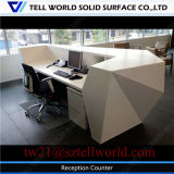 Modern Diamond Front Counter Top Solid Surface Office Front Table