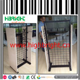 Iron Wire Mesh and MDF Structure Shoe Display Rack with Hooks