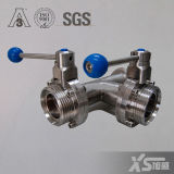 Stainless Steel Multi Control T Type Three Way Butterfly Valve with Pull Handle