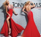 Halter Red Evening Dress Rhinestones Mermaid Wedding Bridal Gown E52718