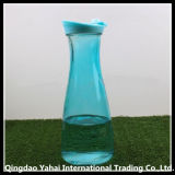 Blue Colored Glass Jug with Plastic Lid