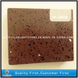 Customized Engineered Brown Artificial Quartz Stone Tiles for Countertops